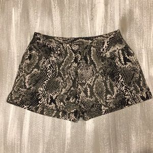 Express Black & White Snakeskin Dress Shorts